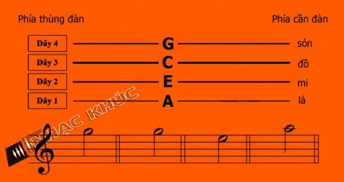 Các nốt nhạc trên đàn Ukuelele