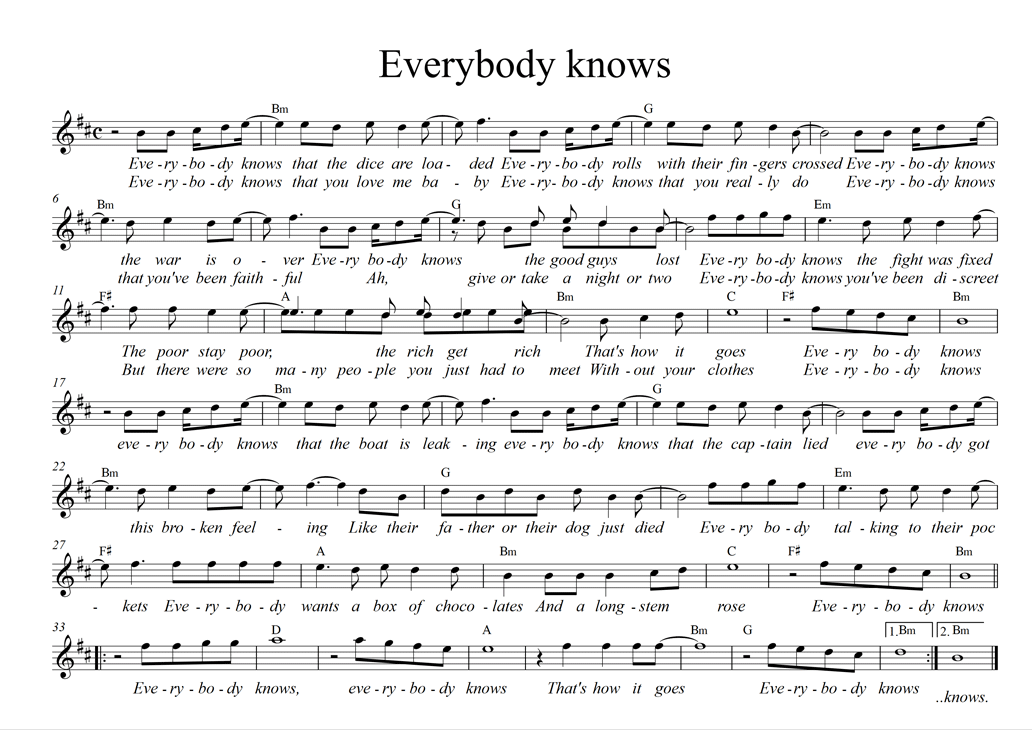 sheet everybody knows