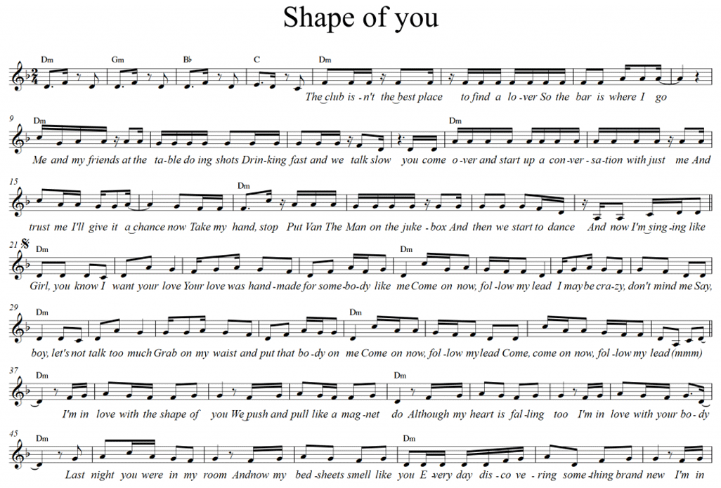 sheet shape of you