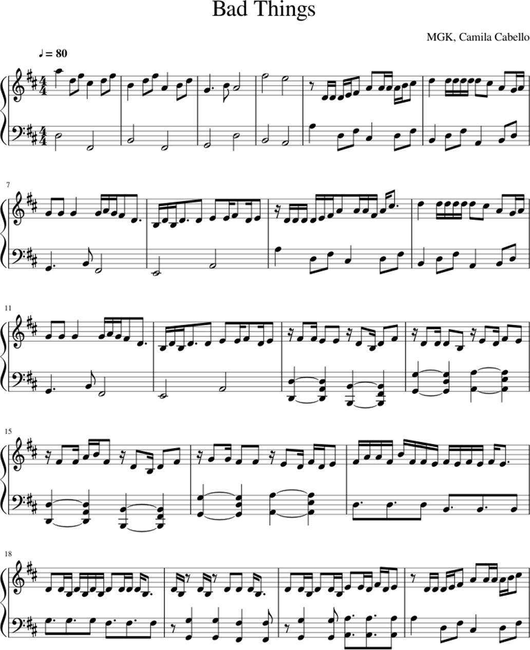 Bad things sheet music notes 1