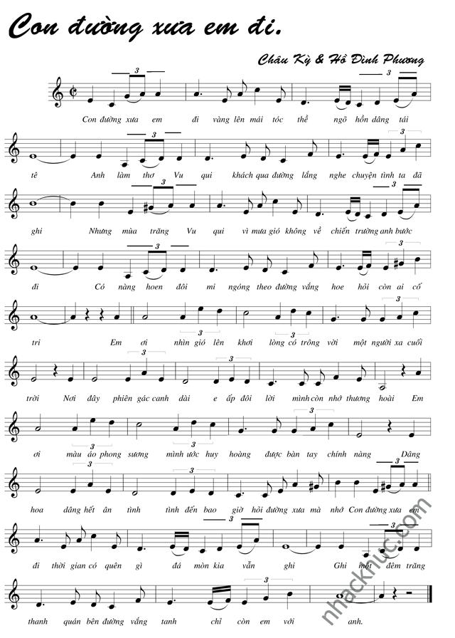Sheet nhạc Con đường xưa em đi - bản nhạc có nốt