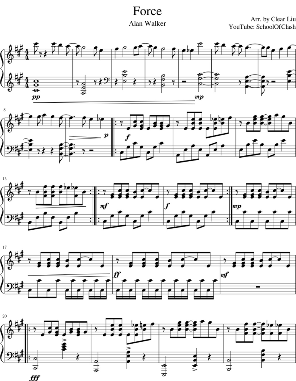 Force sheet music notes 1