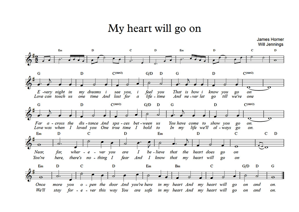 my heart will go on sheet nhạc