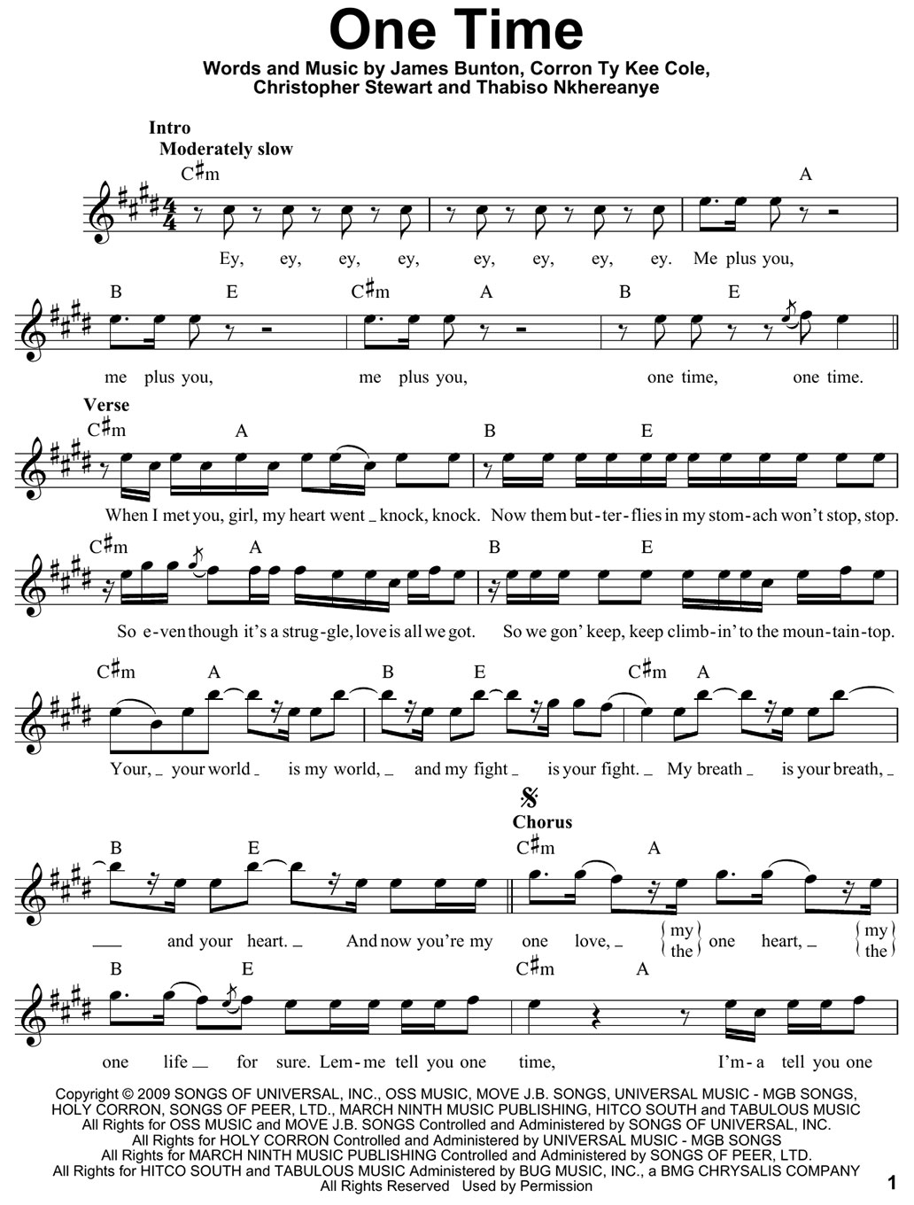 one time piano sheet music notes