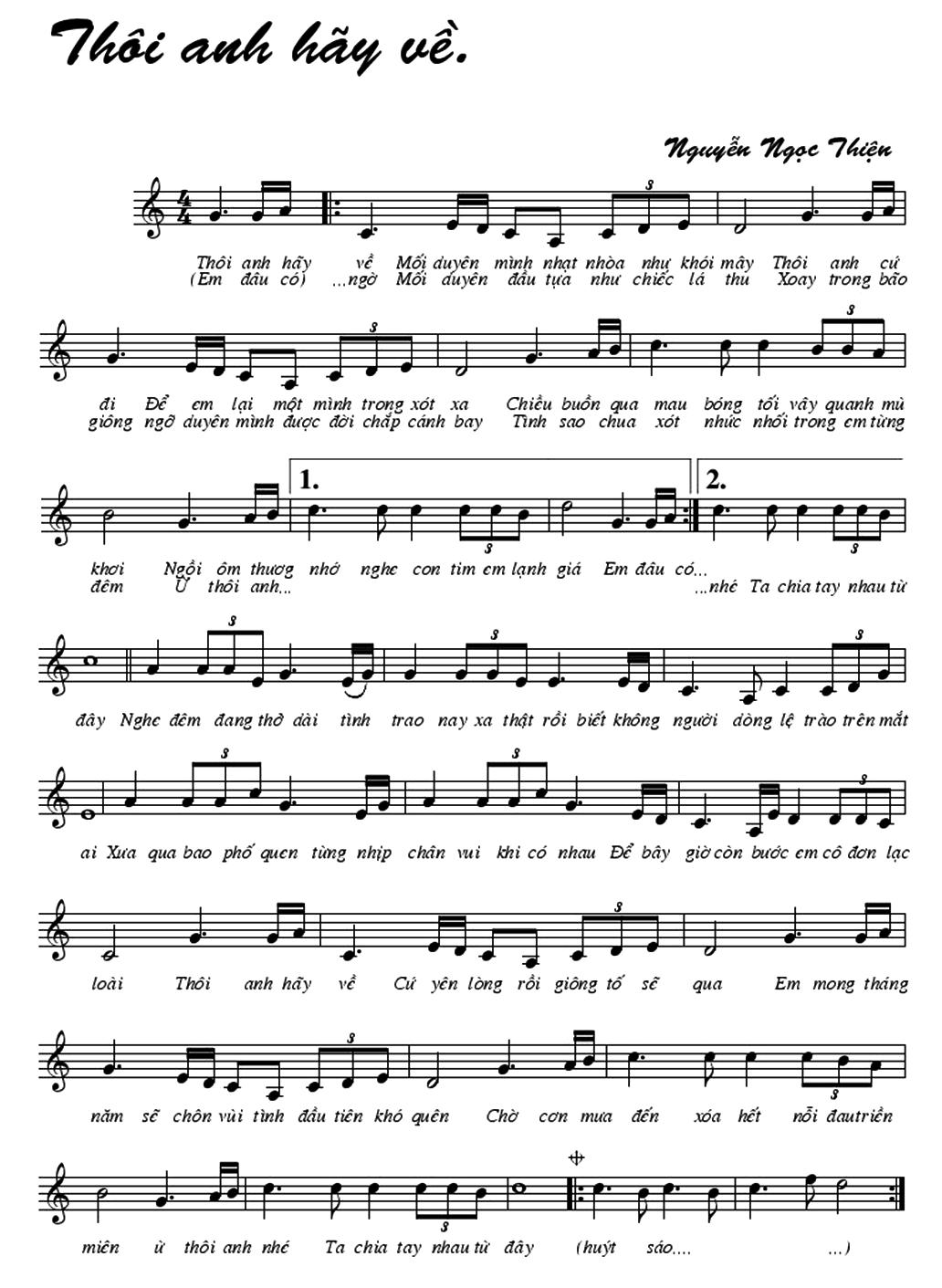 Thôi Anh Hay Về Sheet Nhạc Nốt Nhạc Ký âm Cảm âm Hợp âm