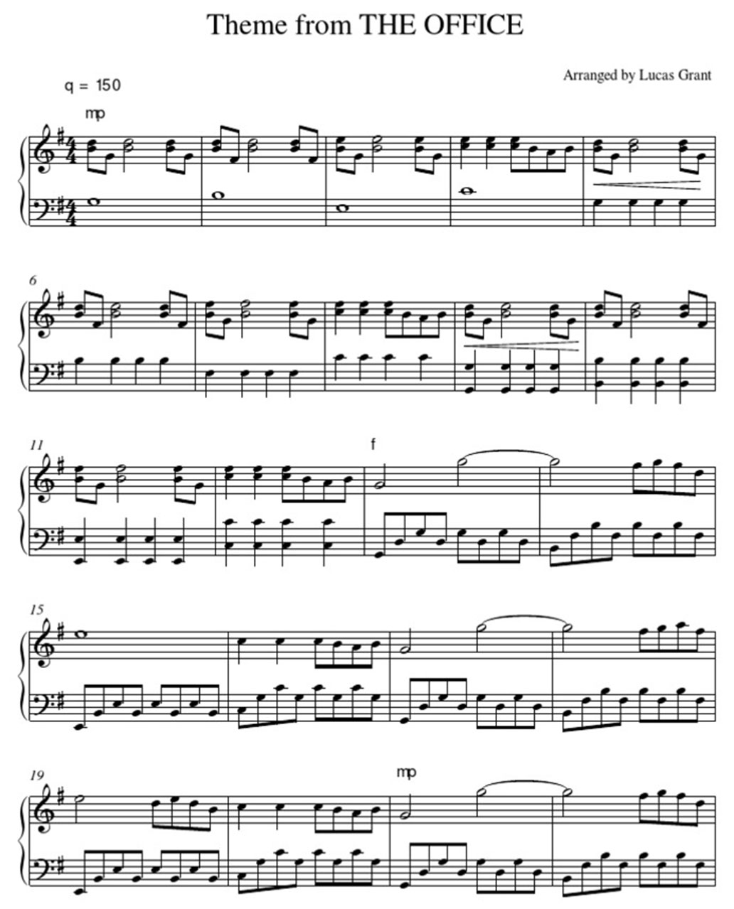 the ofice theme song piano sheet music notes