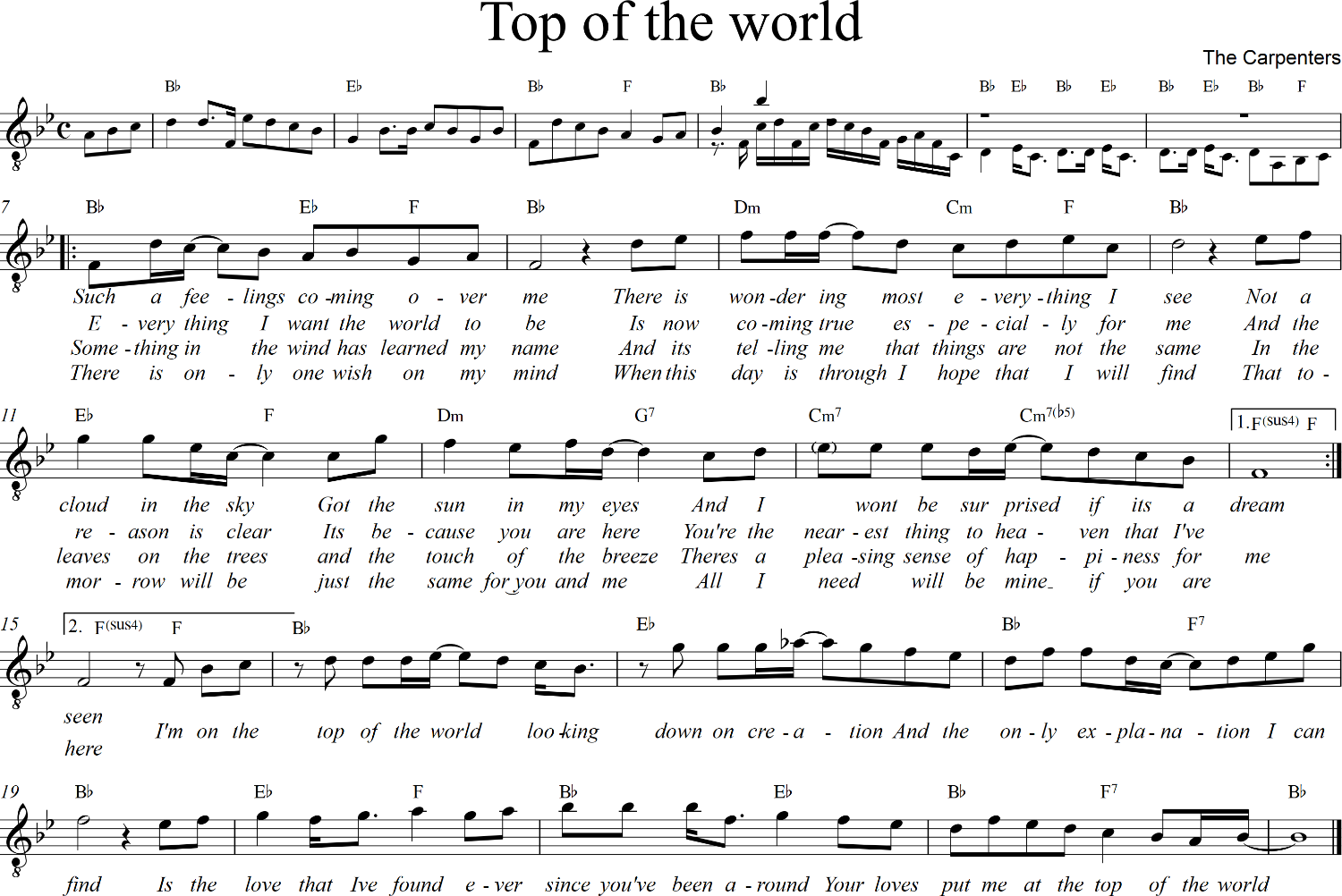 sheet Top of the world – Carpenters