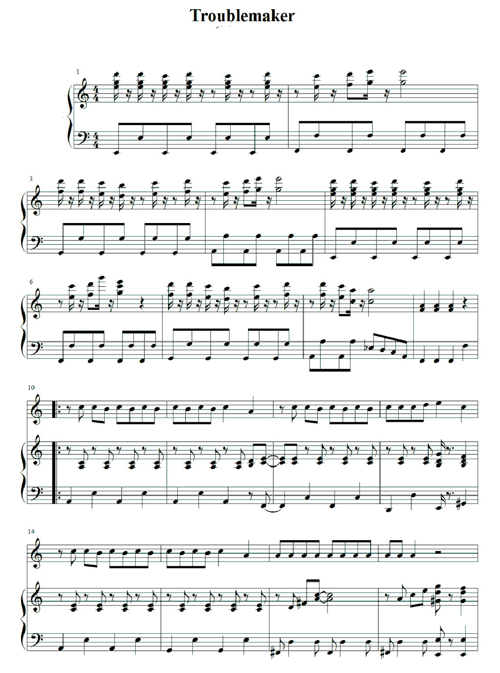 trouble maker piano sheet music notes