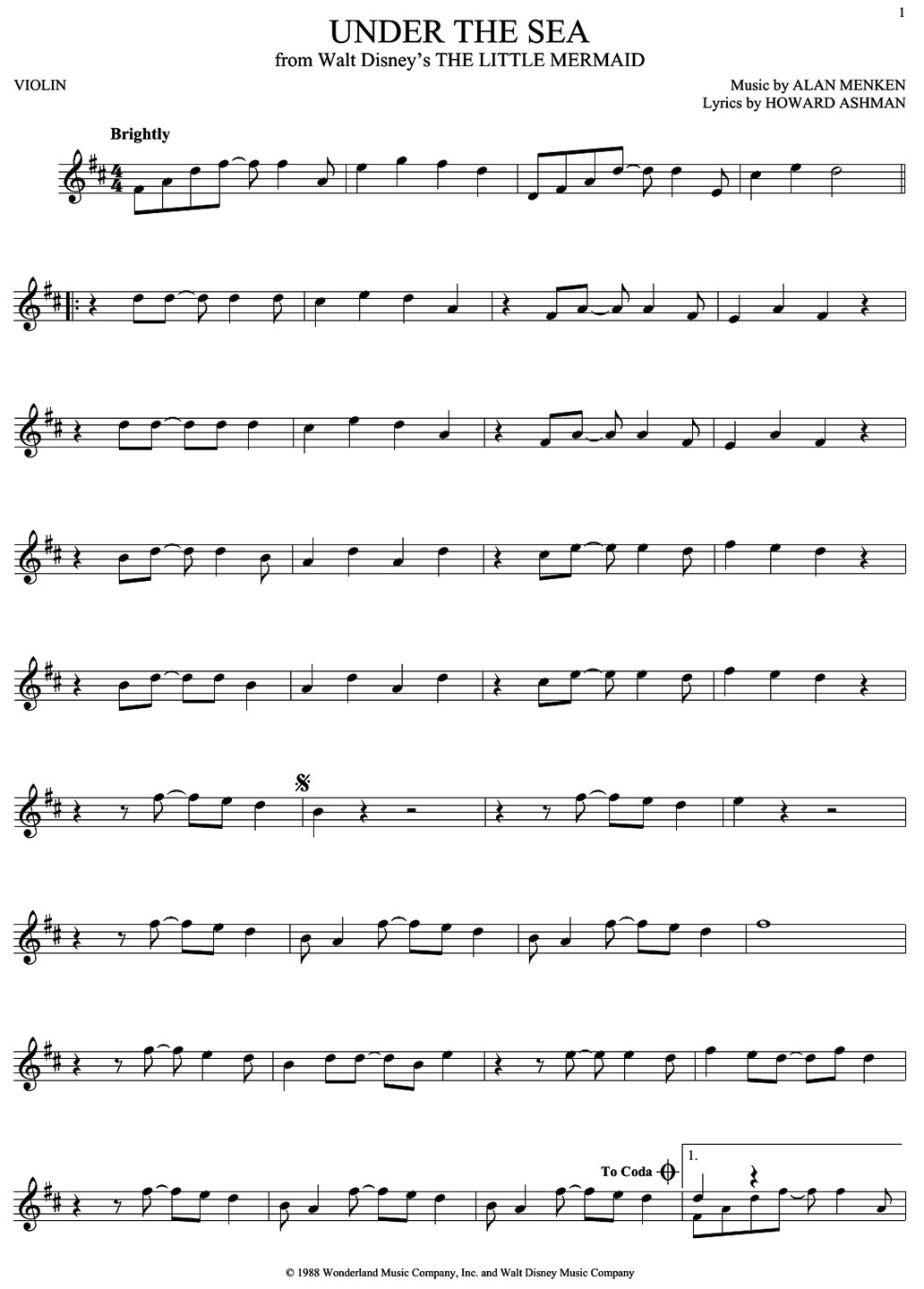 under the sea sheet music notes
