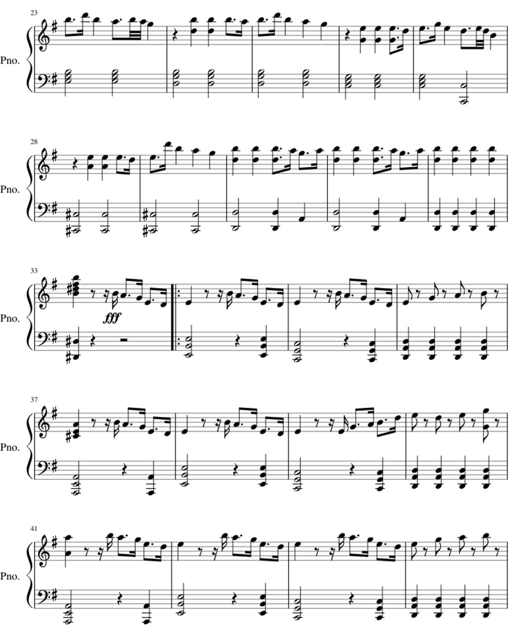 Unity sheet music notes 2