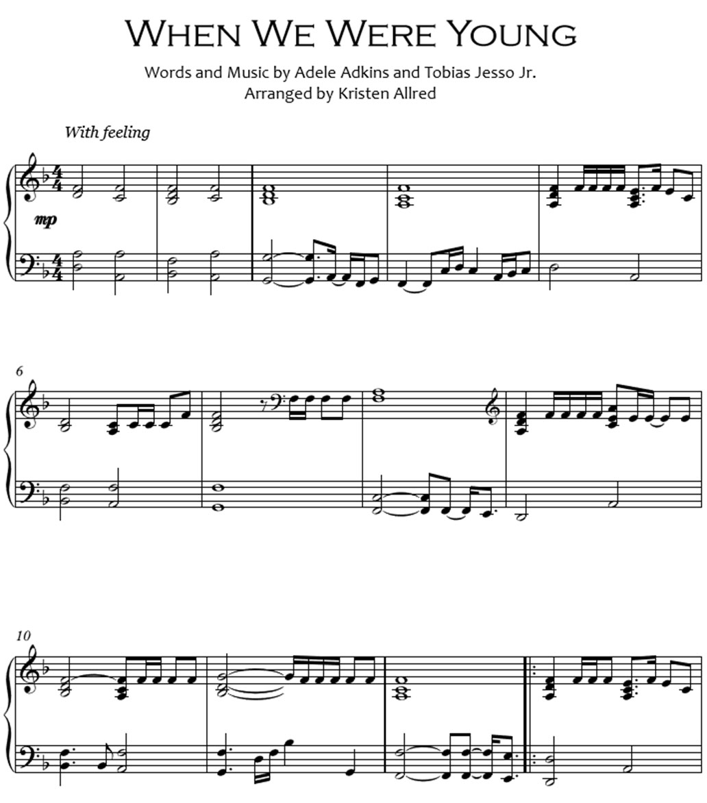 when we were youong sheet music notes
